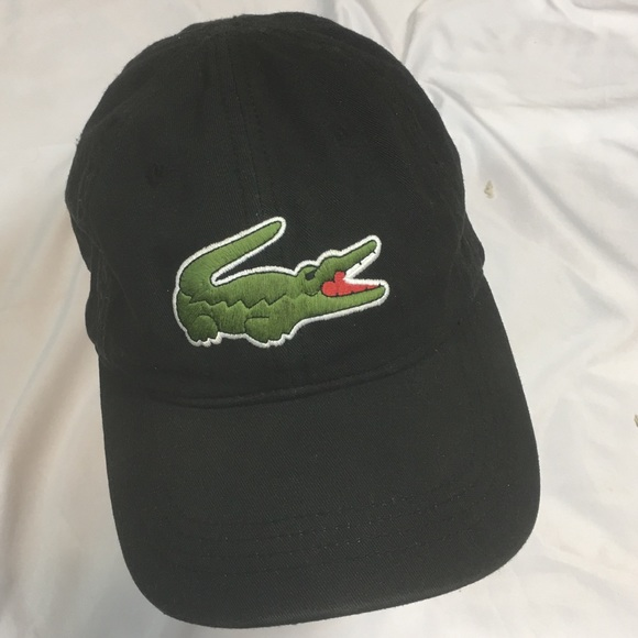 6700afe2e Lacoste Mens Big Croc Logo Baseball Hat Black